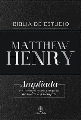Biblia de Estudio Matthew Henry Negro con Índice (Piel Fabricada)