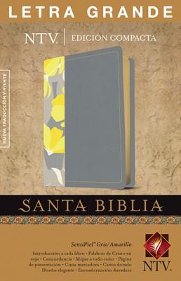 Biblia Compacta Letra Grande Gris y Amarillo (Imitación Piel)