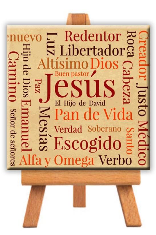 """Minilienzo """"Nombres de Jesús"""" 9x9 Cm."""